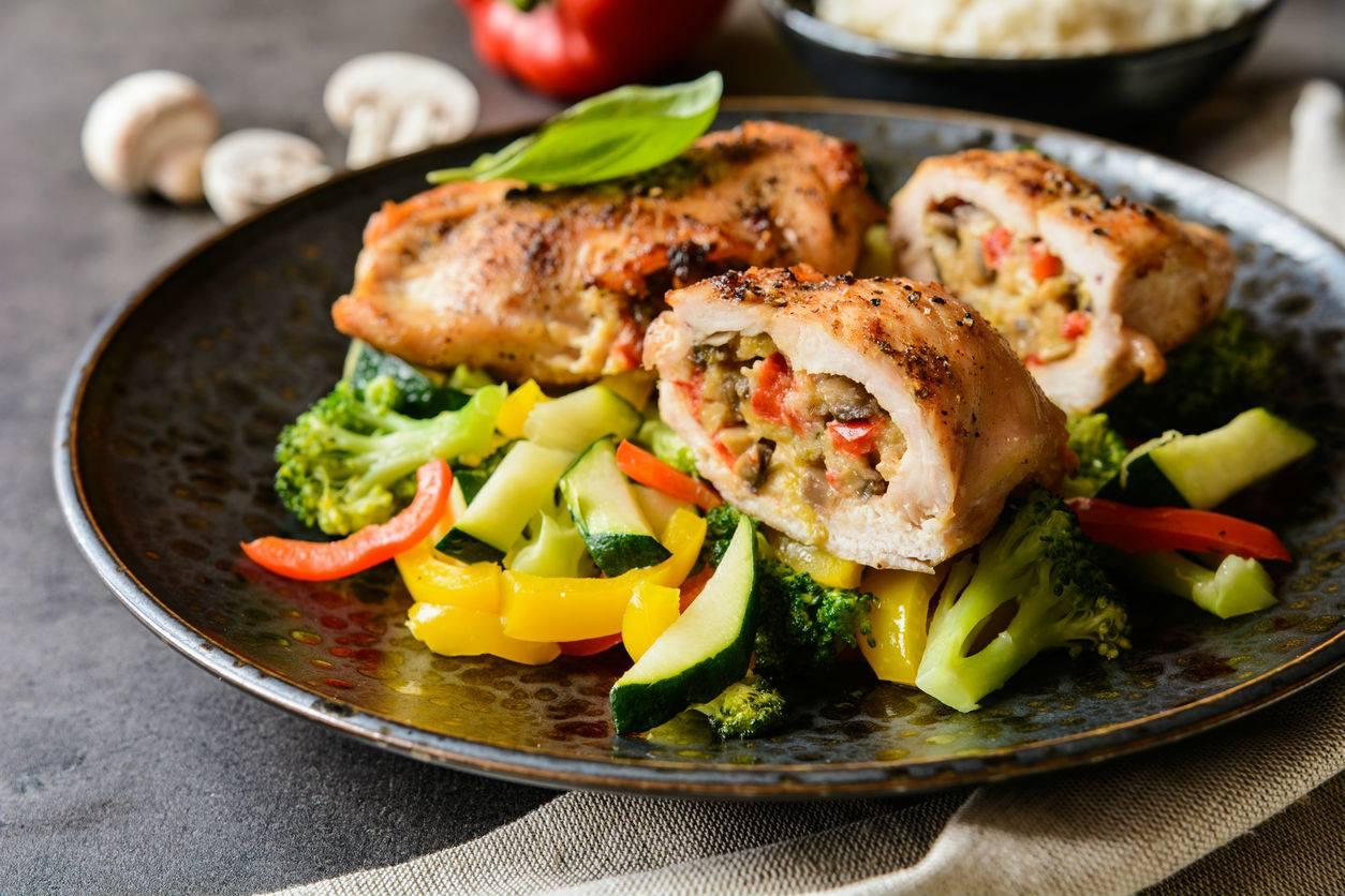 Zöldséges töltött csirkemell