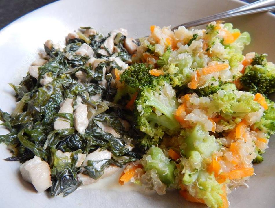 Mángoldos csirke zöldség quinoával